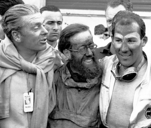 Stirling Moss won overall in a Mercedes-Benz 300 SLR. Chief Engineer Rudy Uhlenhaut (left) congratulates navigator Denis Jenkinson (center) and Stirling Moss.