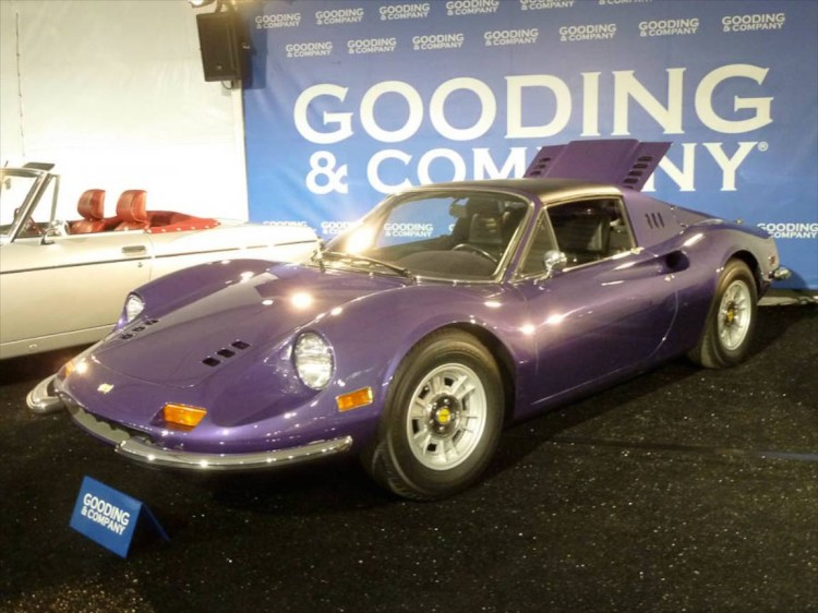Lot # 05 1974 Ferrari 246 GTS Dino ; S/N 08070; Viola Metallizzato/Black; Estimate $325,000 - $375,000; Cosmetic restoration, 3+ condition; Hammered Sold at $310,000 plus commission of 10.00%; Final Price $341,000 – A/C, P/W, Cromodora alloy wheels, blackwall tires, tool kit, manuals. – Viewed a year ago at Auctions America's Ft. Lauderdale auction, good new paint purported to be the original color (one of 31 delivered in Viola) and attractive new upholstery and mousehair style dash top. Engine and chassis are aged and neglected. Said here to have been recently serviced and have under 26,000 original miles. – The consignor's decision to decline the $295,000 offered at Ft. Lauderdale last year for this eminently usable Dino in its striking and unusual livery was understandable but the $15,000 more that it brought on the hammer was little solace in the end. An eye-catching Dino at a realistic price.