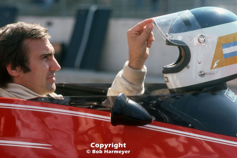 Carlos Reutemann sits in his Brabham BT45 before practice for the 1976 Grand Prix of Belgium at Zolder. Reutemann had engine problems during the race and completed just 17 laps.