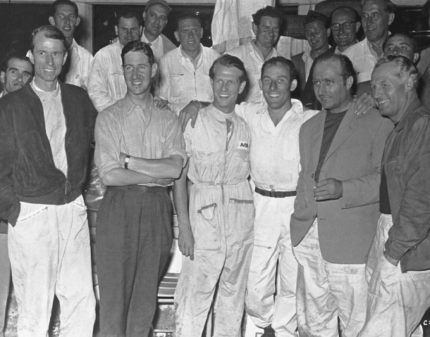 Mercedes-Benz Team Photo - Stirling Moss and Peter Collins stormed into the lead, breaking all records and took the flag followed by Juan Manuel Fangio with Carl Kling in another Mercedes-Benz 300 SLR. Fitch and Titterington were fourth.