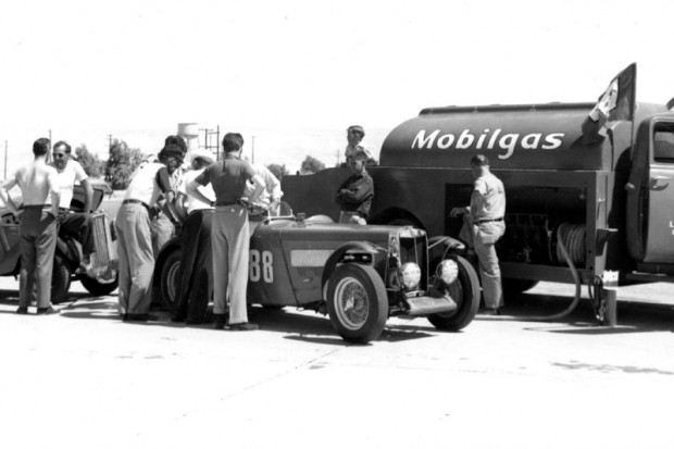 Fueling John Edgar's MG from the old Mobilgas tanker at Palm Beach