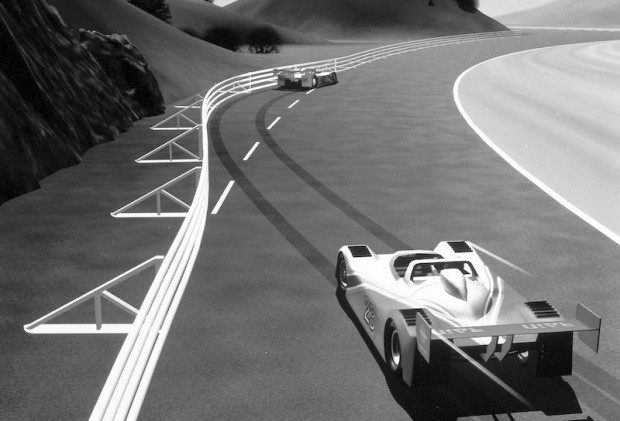 But the Fitch Inertial Barriers weren't John's only contribution towards safety. The steel barriers on roads are often unkind to cars and drivers when struck. So John created Fitch Compression Barriers and Fitch Displaceable Guardrails for use on race tracks.
