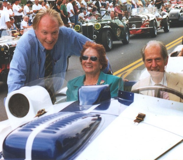 Dan Gurney, Phil Walter's widow Sheila and John contribute to the celebration and remembrances at the 2001 Watkins Glen Vintage Festival.