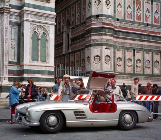 John's friend, Bob Sirna, had acquired and prepared a 1955 Mercedes-Benz 300 SL. He entered it in the Mille Miglia retrospective in 2002 with John driving and Bob navigating.