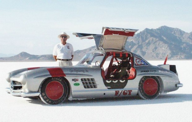 In 2003, Bob Sirna took his 1955 Mercedes-Benz 300 SL Gullwing to Bonneville to attempt a class record. John drove for him. In this photo, Bob is standing behind his car.
