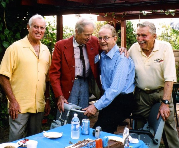 On August 4, 2007, it was my great honor to help celebrate John's ninetieth birthday at my home in Redondo Beach, California. We had a large number of guests including Bob Bondurant (left), Phil Hill and Mr. Corvette, Dick Guldstrand (right).