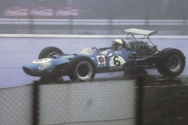 Jackie Stewart in his Matra-Ford during the German Grand Prix at the Nurburgring, August 1968, where he won with a margin of 4 minutes in fog and rain. (Courtesy Sir Jackie Stewart Collection)