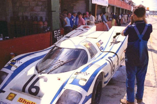 The Porsche 917K of Vic Elford and Kurt Ahrens and entered by Porsche AUDI/Shell. It did not finish the 1970 Sebring 12-hour Race due to an accident.  They were hit from behind causing damage to the suspension and body.