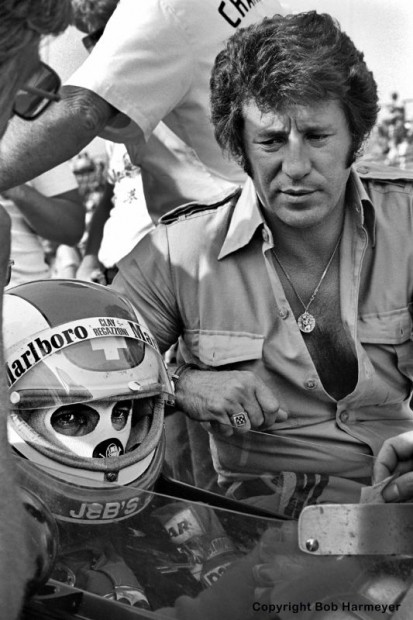 """Formula 1 veteran Clay Regazzoni was making his first trip to Indianapolis in 1977 and fellow F1 driver Mario Andretti spent time helping Regazzoni adapt to the unique characteristics of oval racing. Andretti and Regazzoni both were running the full F1 schedule, juggling trans-Atlantic flights to fit their """"500"""" rides around the Monaco GP which was run on the second weekend of Indy qualifying."""