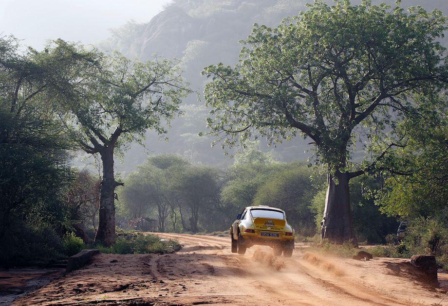 Bjorn Waldegard soars his Porsche 911 during the East African Safari Classic Rally (photo: McKlein Photography)