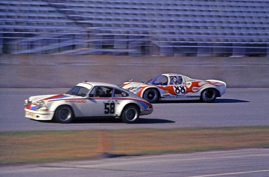 The Andrew Carduner - Jacques Bienvenue Brumos Porsche 911S side-by-side with the  Porsche 910 of Edwin G. Abate and Bill Cuddy.  They both retired after 127 and 167 laps respectively.  Louis Galanos photo.
