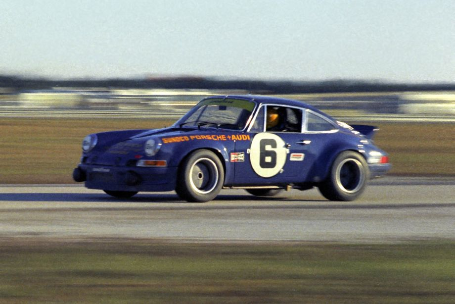 The Roger Penske prepared Porsche 911 Carrera RS.  Like the Brumos Porsche it was owned by the Porsche factory.  It was driven by Mark Donohue and George Follmer.  Louis Galanos photo.