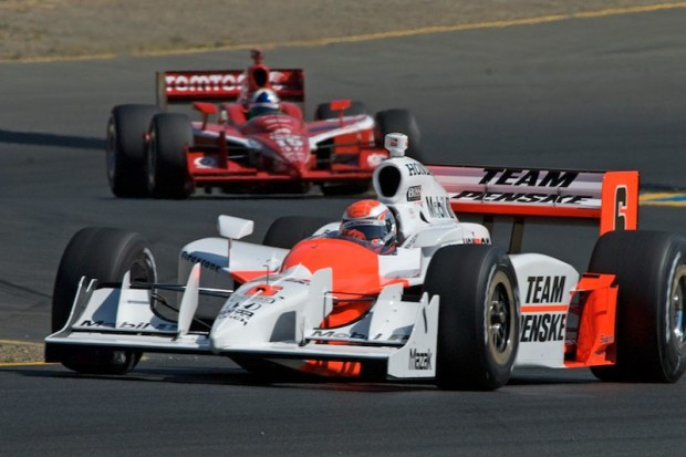 Ryan Brisco in Team Penske IRL car leads #10 Dario Franchitti's team Target Chip Ganassi IRL car into turn two during Sunday morning's Indy Grand Prix of Sonoma warm-up