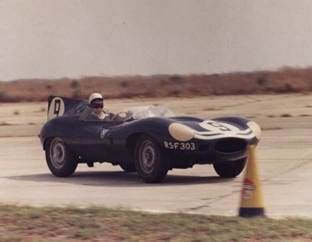 Ron Flockhart in the D-Type shared with Masten Gregory was another early Jaguar retirement.
