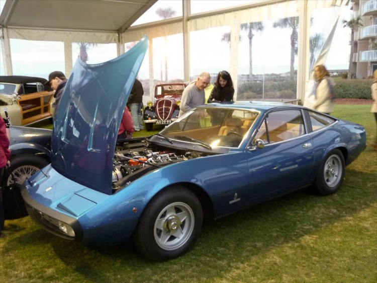Lot # 112 1972 Ferrari 365 GTC/4; S/N 15859; Blue Ribot/Beige leather; Estimate $225,000 - $275,000; Cosmetic restoration, 2 condition; Hammered Sold at $305,000 plus commission of 10.00%; Final Price $335,500. No Reserve – Cromodora centerlock alloy wheels, Becker Europa AM-FM, A/C, – Very good new paint and new interior. Engine is clean and carefully detailed. Very good new interior. A good C/4 serviced and detailed to showroom condition. Platinum at Cavallino this year. – Sold by Auctions America in Burbank, California last August for $134,750 with much subsequent work to cosmetics and mechanicals. The consignor was well compensated for the time, effort and money spent to create one of the best C/4s in the world, helped by an exterior color that complements Pininfarina's design, at a price that is the best in history for a C/4. best by $60,000 from the price RM got for s/n 14455 at Monterey last August, a result that recalls Christie's price of $260,972 for s/n 14815 at Monaco a lifetime ago (or so it seems) in 1989.