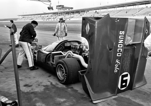 <strong>Despite being gridded second, the Donohue/Penske Lola T70 Mark IIIB suffered from fuel pick-up problems that forced them to pit twice as often as planned.  As a result they fell further and further behind the leaders.</strong>