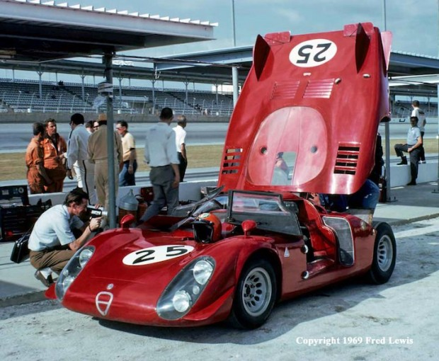<strong>Alfa Romeo T33/2 of Mario Calabattisti and Eduardo Dibos-Chappuis. The car failed to finish due to a spectacular accident and fire involving the Porsche 911 of Peter Gregg.  Both drivers survived although Calabattisti did suffer some injuries.</strong.  (Photo credit: www.fredlewisphotos.com)