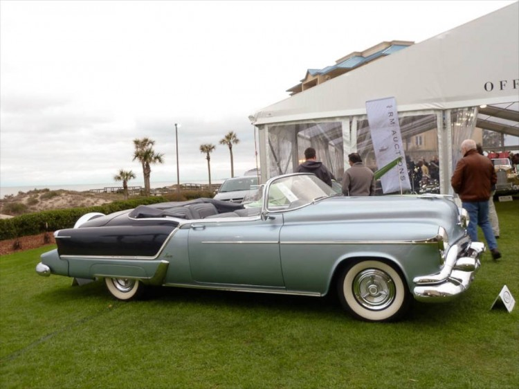 Lot # 125 1953 Oldsmobile Ninety-Eight Fiesta Convertible; S/N 539M26760; Cadet Blue, Acacia Blue/Cadet Blue, Acacia Blue; Blue cloth top; Estimate $120,000 - $160,000; Not evaluated; Hammered Sold at $165,000 plus commission of 10.00%; Final Price $181,500 – – -- Sold here in 2003 for $104,500, then here again in 2009 for $143,000 with the odometer showing the same 80,169 miles it does today. Far from the best Fiesta on the planet but attractively presented and an equally attractively rare example of the '53 GM Motorama cars.