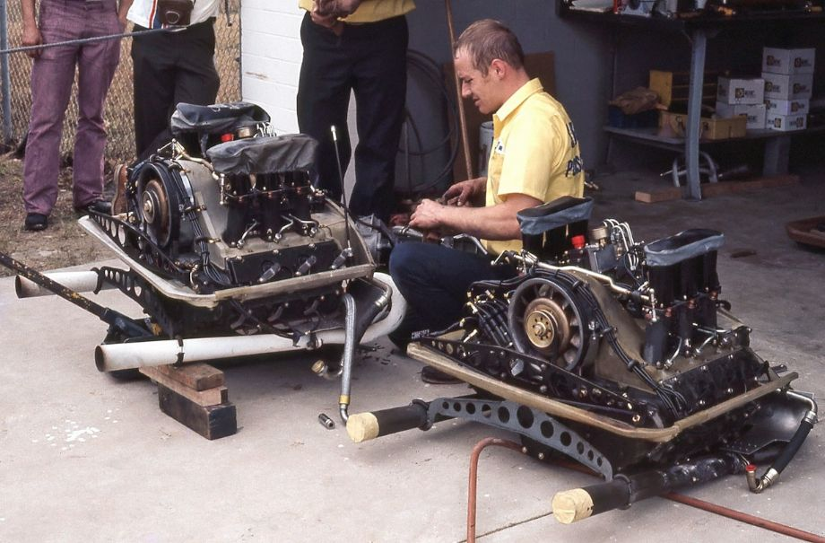 The Penske team arrived with some spare engines for the Carrera.  It was reported that these 2.9- liter engines could produce 310 bhp.  The car also sported a modified suspension and massive Porsche 917 brakes.  Richard A. Reeves photo.