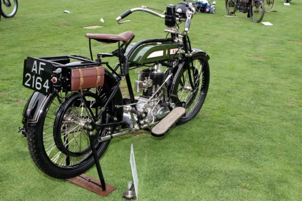 In 1921, BSA built this 557cc long-stroke sidevalve single Model H with strong frame to accommodate a sidecar.  This brilliant example was restored at the famed Sammy Miller Museum in New Milton, Hampshire, England.  Owner Budd Schwab brought it to The Quail for all to see.