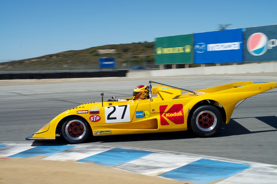 Keith Frieser's 1972 Lola T290 in turn eleven Sunday morning.