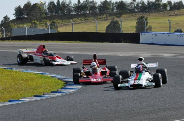 Chris Lambden - McRae GM1 # 27 leads Paul Zazryn - Lola 332 # 24 and Russell Greer - Lola T332 # 14 into the hairpin at Sydney Motorpsort Park.