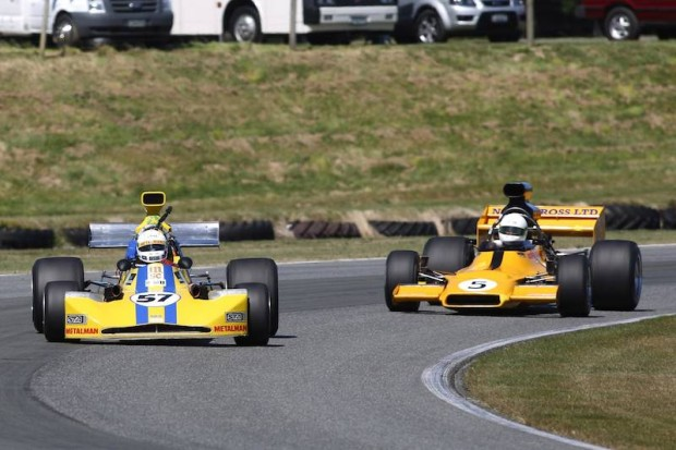 Round winner Clark Proctor (#57) leading Steve Ross (#5) in the first MSC series race of the weekend on Saturday.