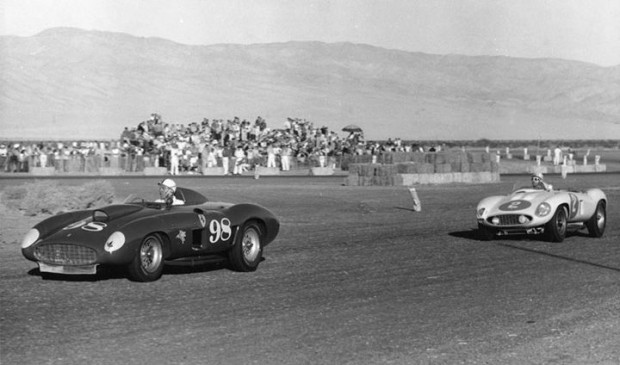 Carroll Shelby in the Edgar Ferrari 410S leads Phil Hill in the first Ferrari 857S built.