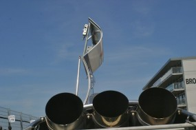 The Howmet TX Turbine makes a classic sculpture in the collection area before the race. Photo: Ed McDonough