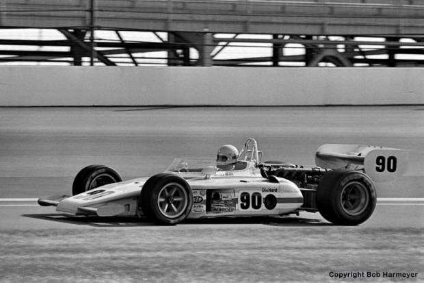 """Rick Mears, making his rookie appearance at the Indianapolis Motor Speedway, drives his Eagle 7225/Offenhauser TC on a warmup lap during practice for the 1977 """"500."""" Mears failed to qualify for the '77 race, but returned the next year with Roger Penske and went on to win four races in the next 15 years."""