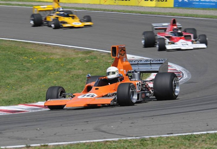 Mid-field action in the second race as Brett Willis' Lola T330 # 6 leads the Lola T332s of Russell Greer and Sefton Gibb
