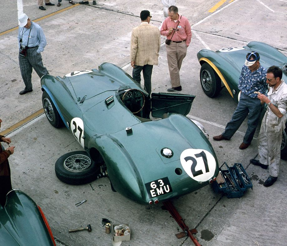 The Shelby/Salvadori Aston Martin in the pits at Sebring, 1956