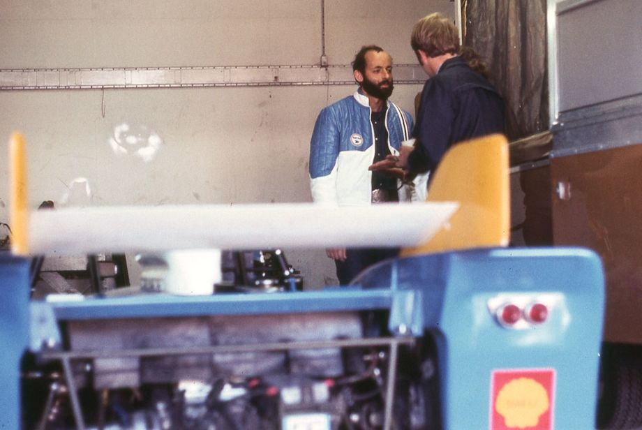 Henri Pescarolo in the Matra garage.  He would drive the lone French Matra MS670 with co-drivers Francois Cevert and Jean-Pierre Beltoise.  They were the only 12-cylinder prototype in the race.  Richard A. Reeves photo.