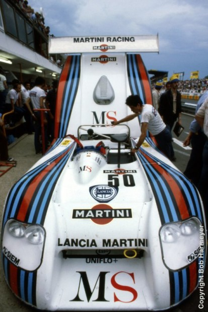 The Lancia Martini LC1 of Hans Heyer, Riccardo Patrese and Piercarlo Ghinzani is checked in the pit lane before Thursday's practice and qualifying sessions.