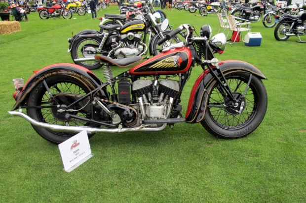 """Always an eye-catcher, this 1939 Indian Sport Scout is an exceptional example of period American motorcycle design. These lightweight """"45-inch"""" Scouts were famed for their speed. One won the first Daytona 200 in 1937 ridden on the old 3.2-mile sand beach race course by """"Ironman"""" Ed Kretz. Rollie Free also rode a Scout at Daytona for a class speed record."""