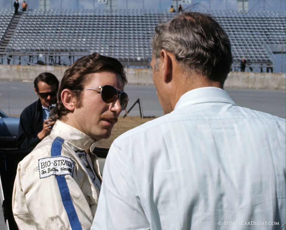 Jo Siffert talks to Gulf Porsche team manager David Yorke prior to the race. (Fred Lewis photo)