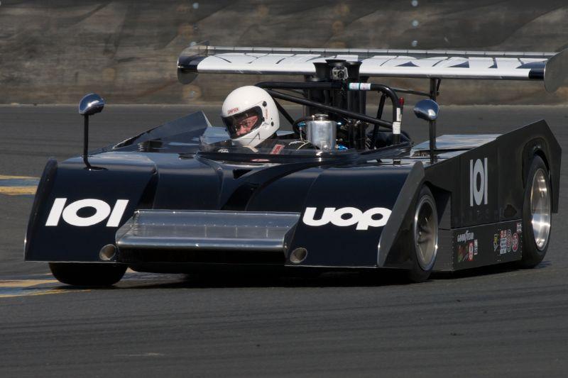 Dennis Losher's Shadow Mk.II Can-Am car in turn eleven.