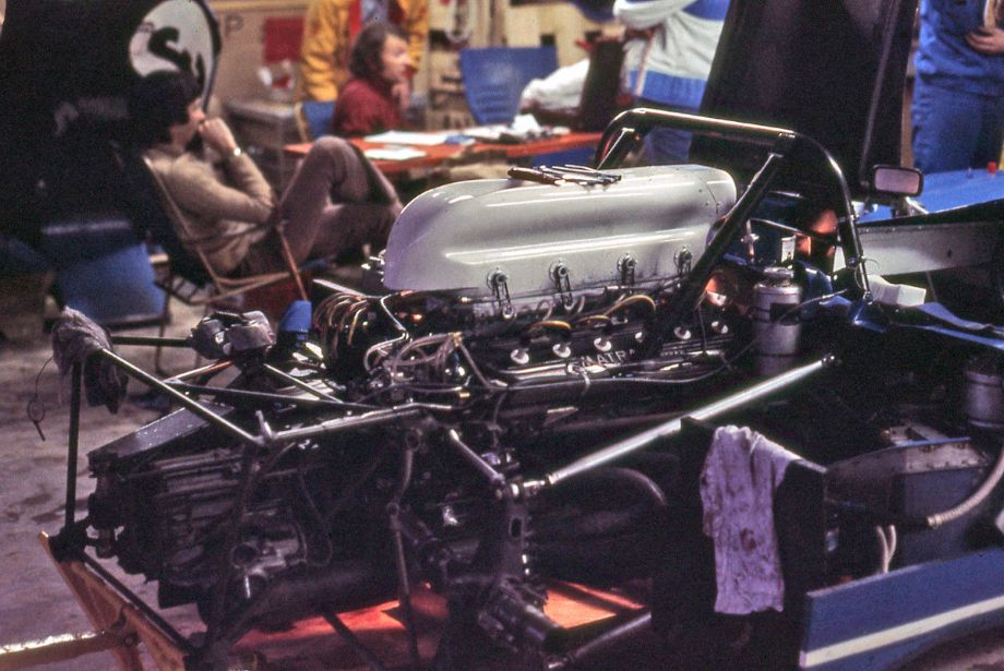 The 12-cylinder 3-liter power plant that Matra used at Daytona in 1973.  While in the lead the engine threw a connecting rod on lap 267.  Matra learned a lot from this race and by the next in the series had resolved a lot of engine issues and would win the Championship of Makes in '73 and '74.  Richard A. Reeves photo.