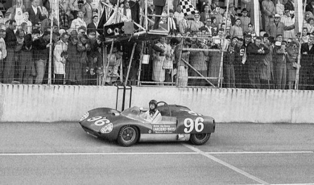 In this photo the Gurney Lotus has crossed the finish line.  Note that the steering wheels are still straight ahead and Gurney's right hand is still near the dash.