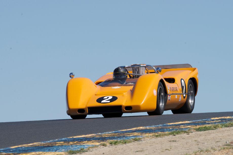 Robert Ryan's 1968 McLaren M6B over the top of three.