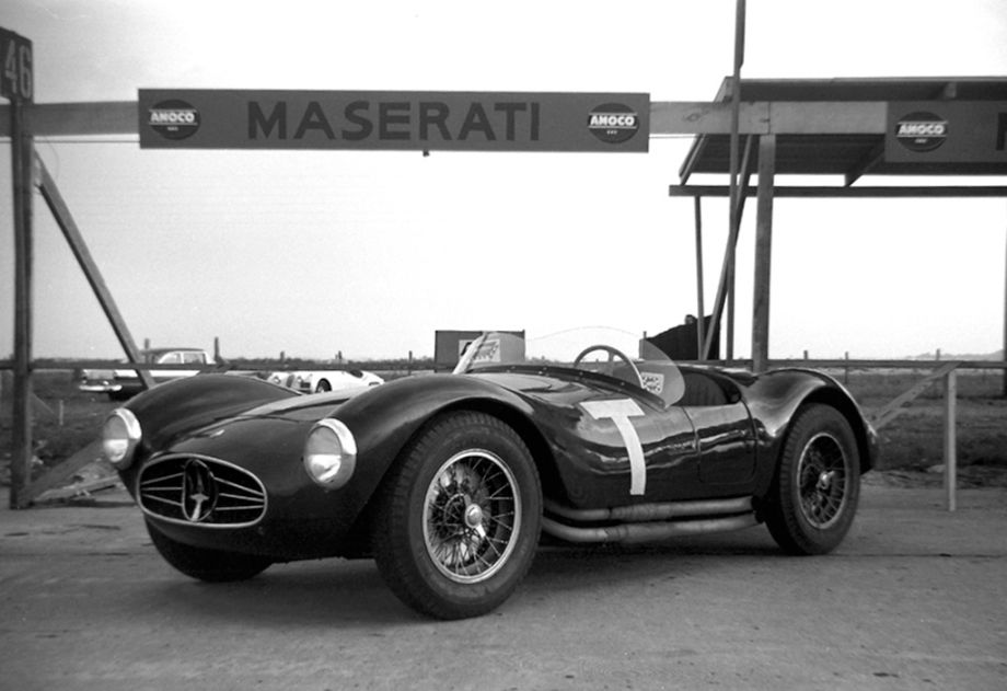 "The Maserati team training ""T"" car at Sebring in 1956."