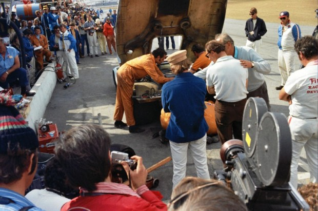 The Gulf 917 Porsches were a big draw every time they came into the pits and a bit of crowd control became necessary.  Think of what the safety stewards would do today if this kind of thing happened in a modern race.
