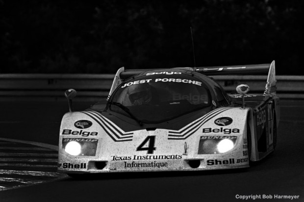 The Joest Racing Porsche 936C JR005 of Bob Wollek, Jean-Michel Martin and Philippe Martin in the early evening hours at Le Mans.