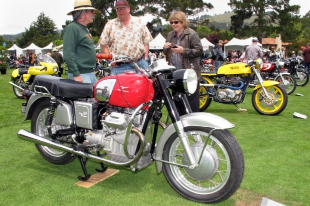 This 1967 Moto Guzzi and nearby '67 Norton (right) are entered by David E. Neal, both being great bikes in an eclectic field of many other exceptional motorcycles at The Quail.