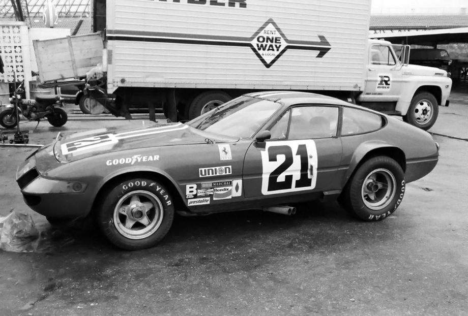 One of the four NART Ferrari 365 GTB/4s that the North American Racing Team fielded at Daytona in 1973.  It was driven by Luigi Chinetti, Jr. and Bob Grossman and finished in fifth place.  Louis Galanos photo.