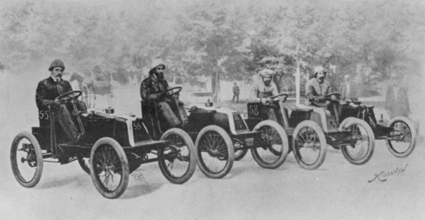 The Renault Team lined up before the start of the 1901 Paris-Bordeaux Race.