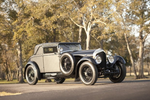 <strong>1927 Bentley 6 1/2-Litre Sport Coupe, Chassis TW2713:</strong> With coachwork by the Surbiton Carriage Company, this low-windshield, fabric-bodied 6 1/2-litre coupe bodied Bentley was first delivered to England-based S.E. Parkes in April 1927. After many years at the Manx Motor Museum on the Isle of Man, TW2713 was shipped to America in the 1980s in original, near- perfect condition. Now after 20 years of healthy driving by previous owners, the fully-restored 6 1/2-litre Coupe is a rarity even among its prestigious vintage peers, having retained its original 'Surbico' body and unique elegant design.