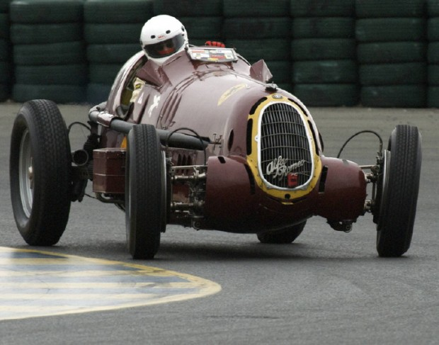 <strong>April - During Friday mornings damp but not yet wet practice a 1935 Alfa Romeo 8C 35 drifts through Sears Point's turn eleven during the 2009 Shell Ferrari Historic Challenge. </strong>
