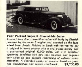 Ad featuring a vintage Packard Super Eight Convertible Sedan