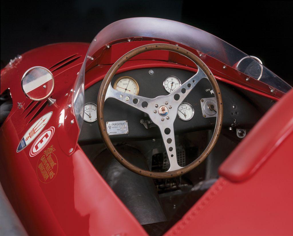 Interior picture of the 1956 Maserati 250F that won the 1956 Monaco Grand Prix driven by Stirling Moss